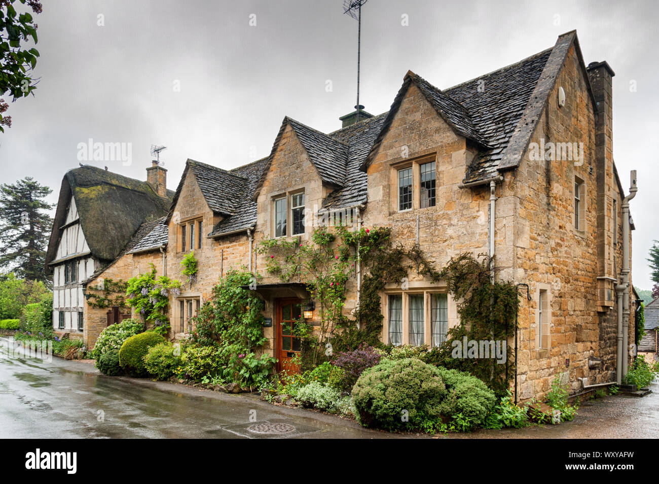 Stanton is a village in the Cotswolds district of Gloucestershire and is built completely of Cotswold stone, a honey-coloured Jurassic limestone Stock Photo