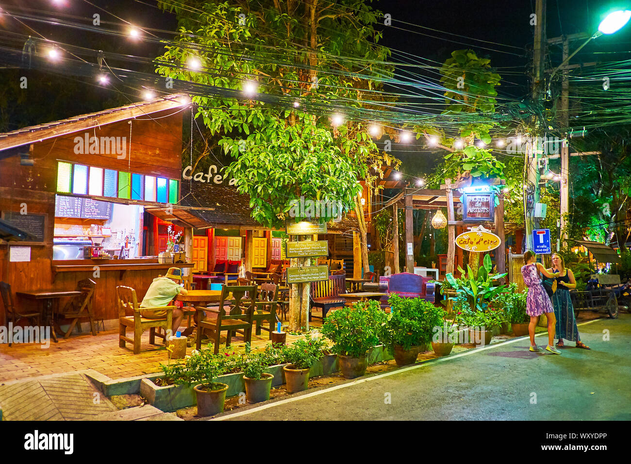 Pai Thailand May 5 2019 The Cozy Lounge Cafe Located In Old Wooden House In Walking Street And Decorated With Many Plants In Pots On May 5 In P Stock Photo Alamy