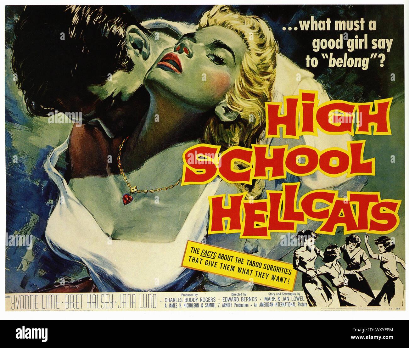 American Taboo Movie high school hellcats - vintage movie poster stock photo