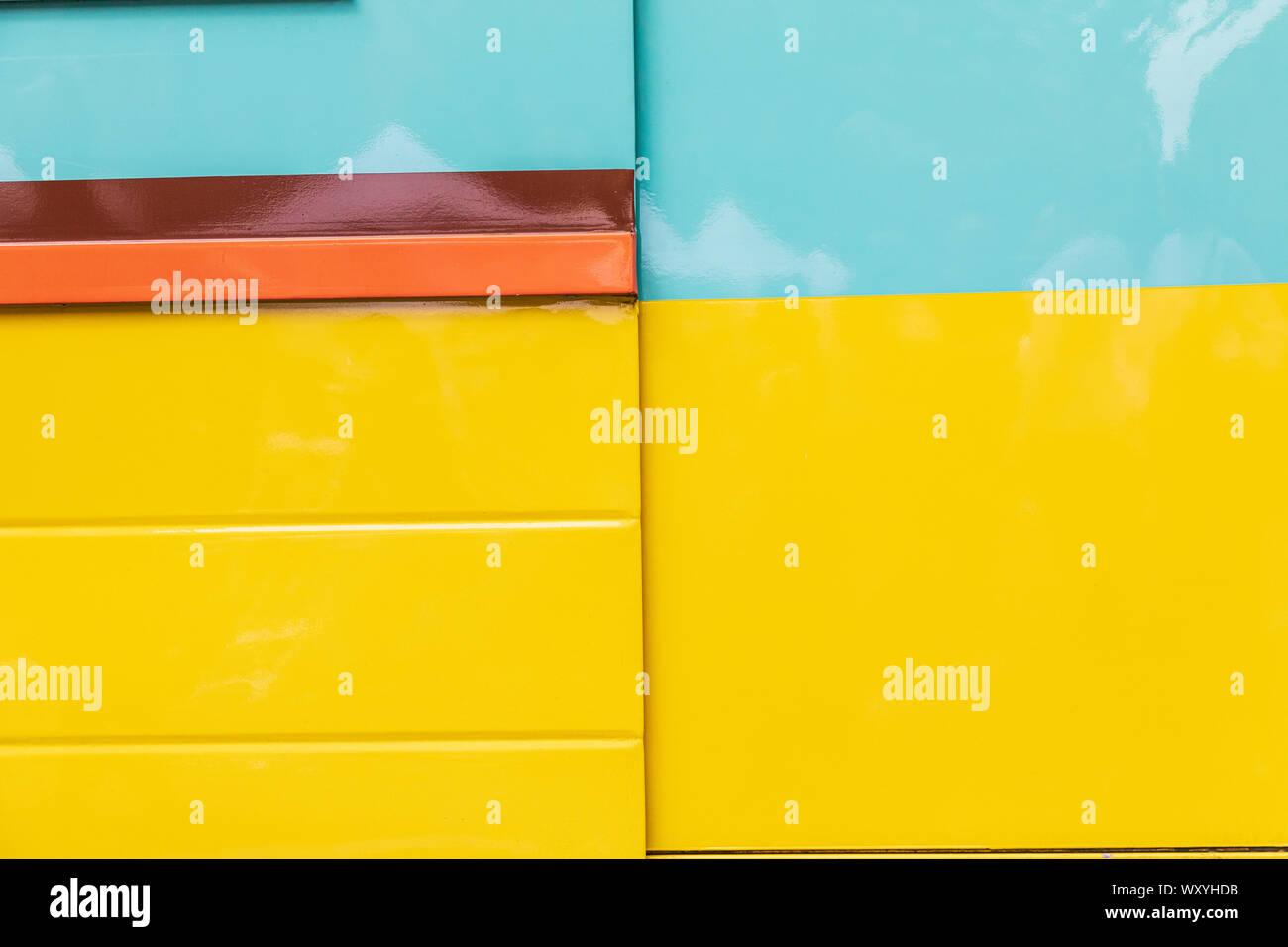 USA, Washington State, Vancouver. Colorful wall at a farmers market. Stock Photo