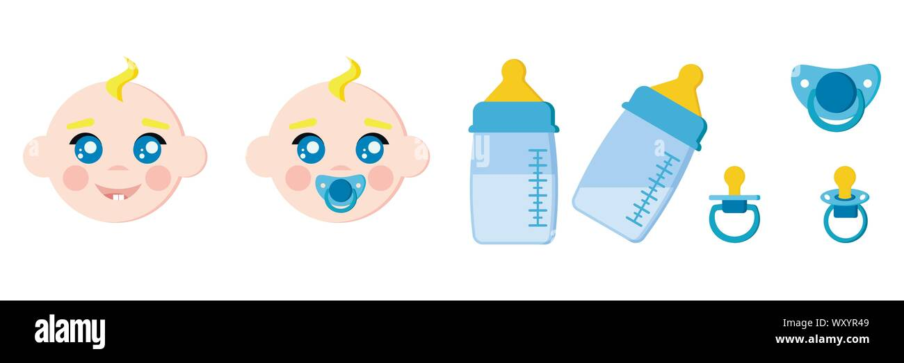Set of infant child faces icons, baby bottles with milk, pacifiers baby dummies,nipple. Stock Vector