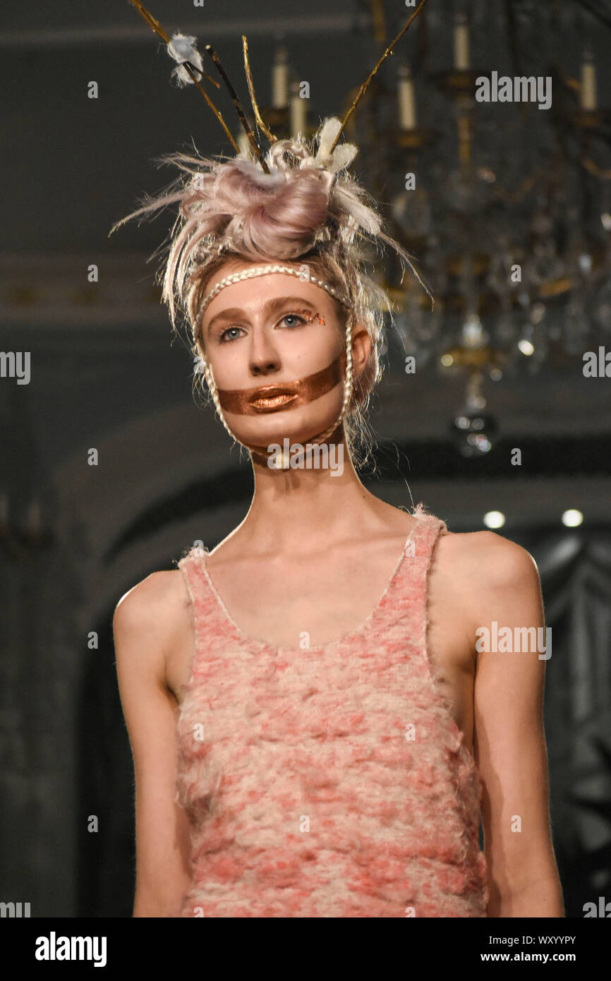 Models Present Creations From Designers Vin Omi During A Catwalk Show For Spring Summer 2020 Collection On The Final Day Of London Fashion Week Stock Photo 274751091 Alamy