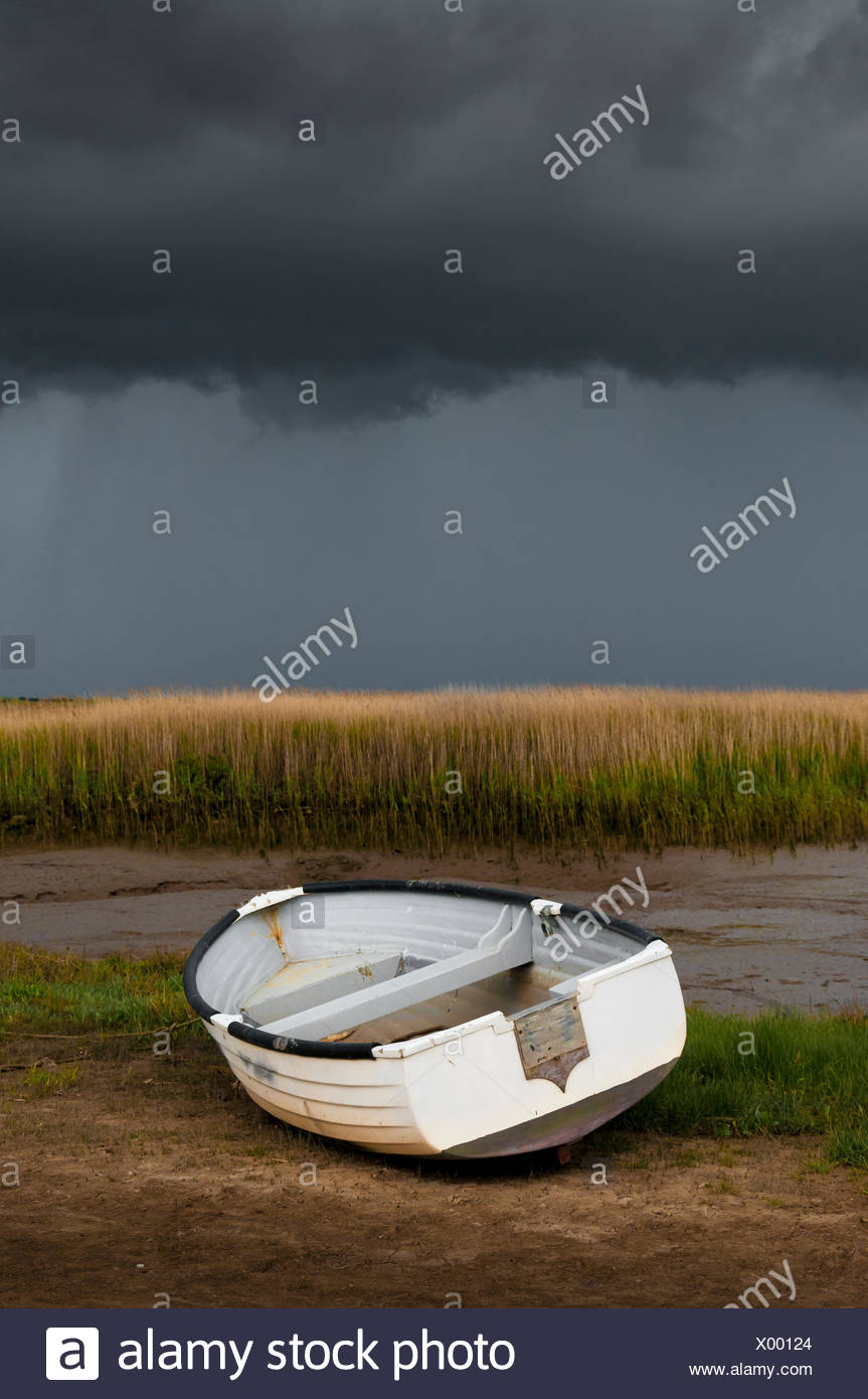 boat, rowing, white, rowing boat, sailing boat, sailboat, watercraft, single, - Stock Image