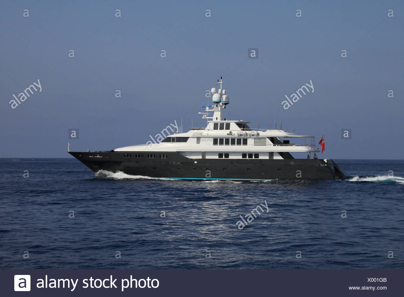 Cyan motor yacht, built by Codecasa, length: 48.70 m, built in 1997, French Riviera, France, Mediterranean Sea, Europe - Stock Image
