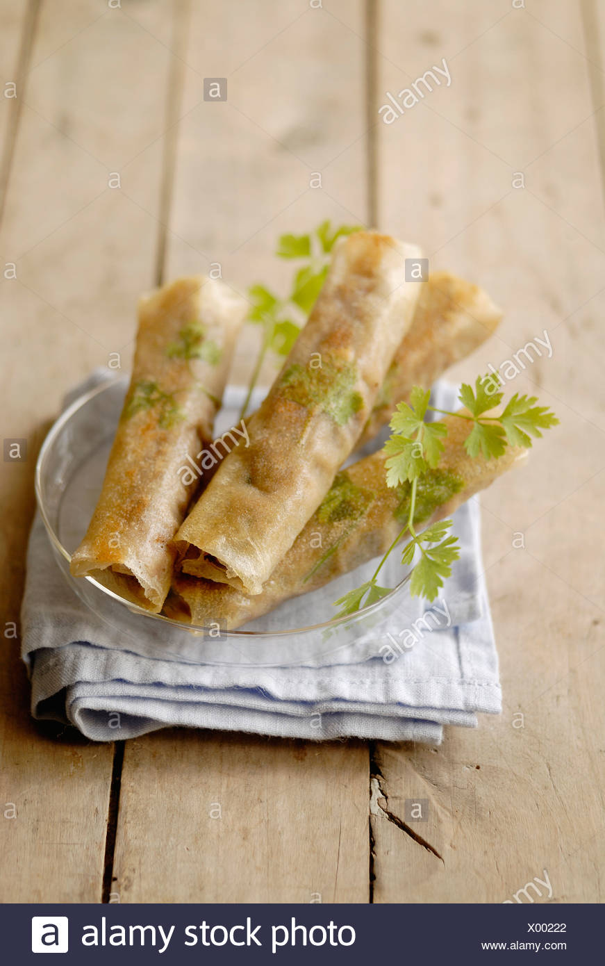 Beef and parsley cigars - Stock Image