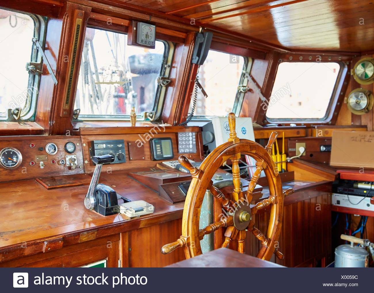 Helm of a sailboat, galleon. Basque Country. Spain - Stock Image