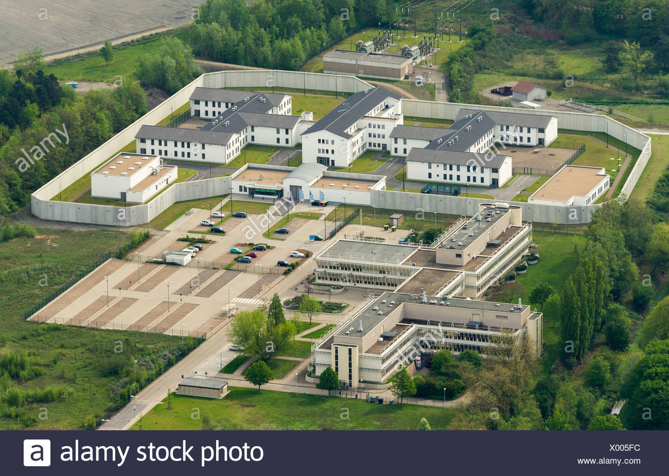 Aerial view, Wanne-Eickel Forensic Institute, Herne, Ruhr area, North Rhine-Westphalia - Stock Image
