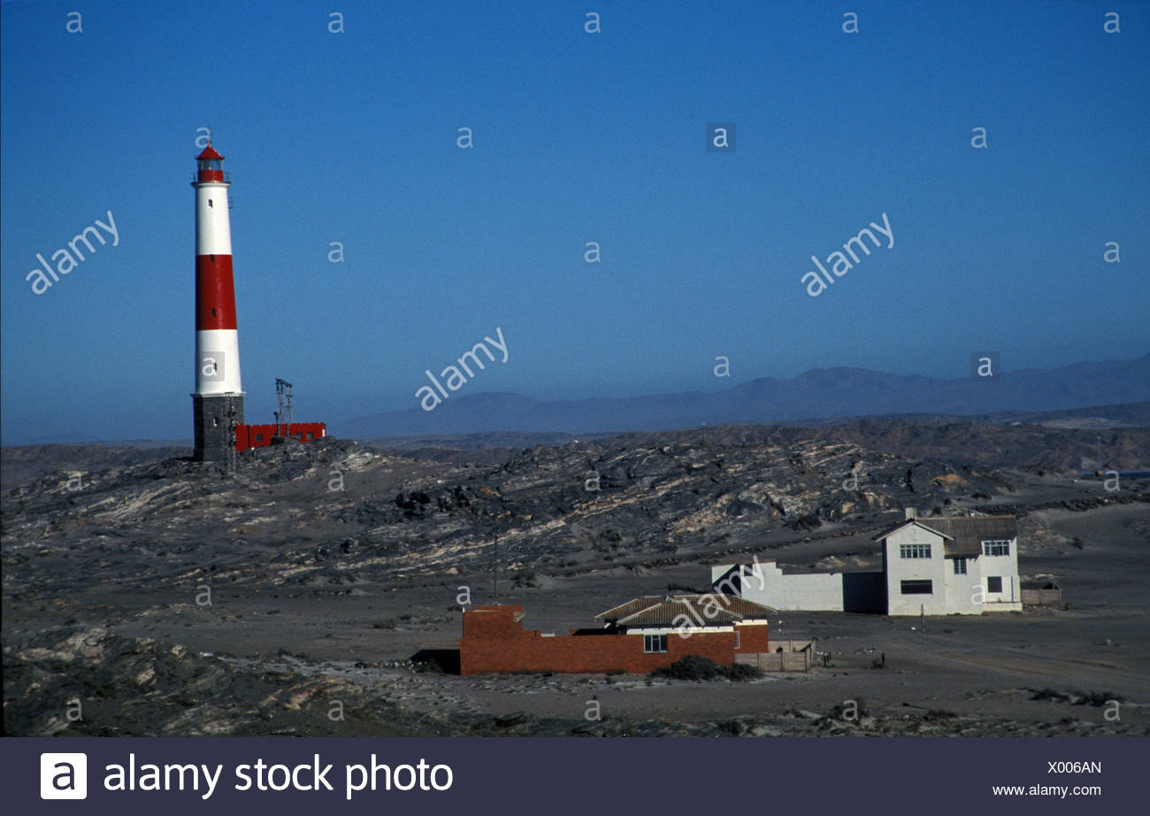 Namibia Lighthouse at Diaz Point, Luderitz Peninsula, Namibia - Stock Image