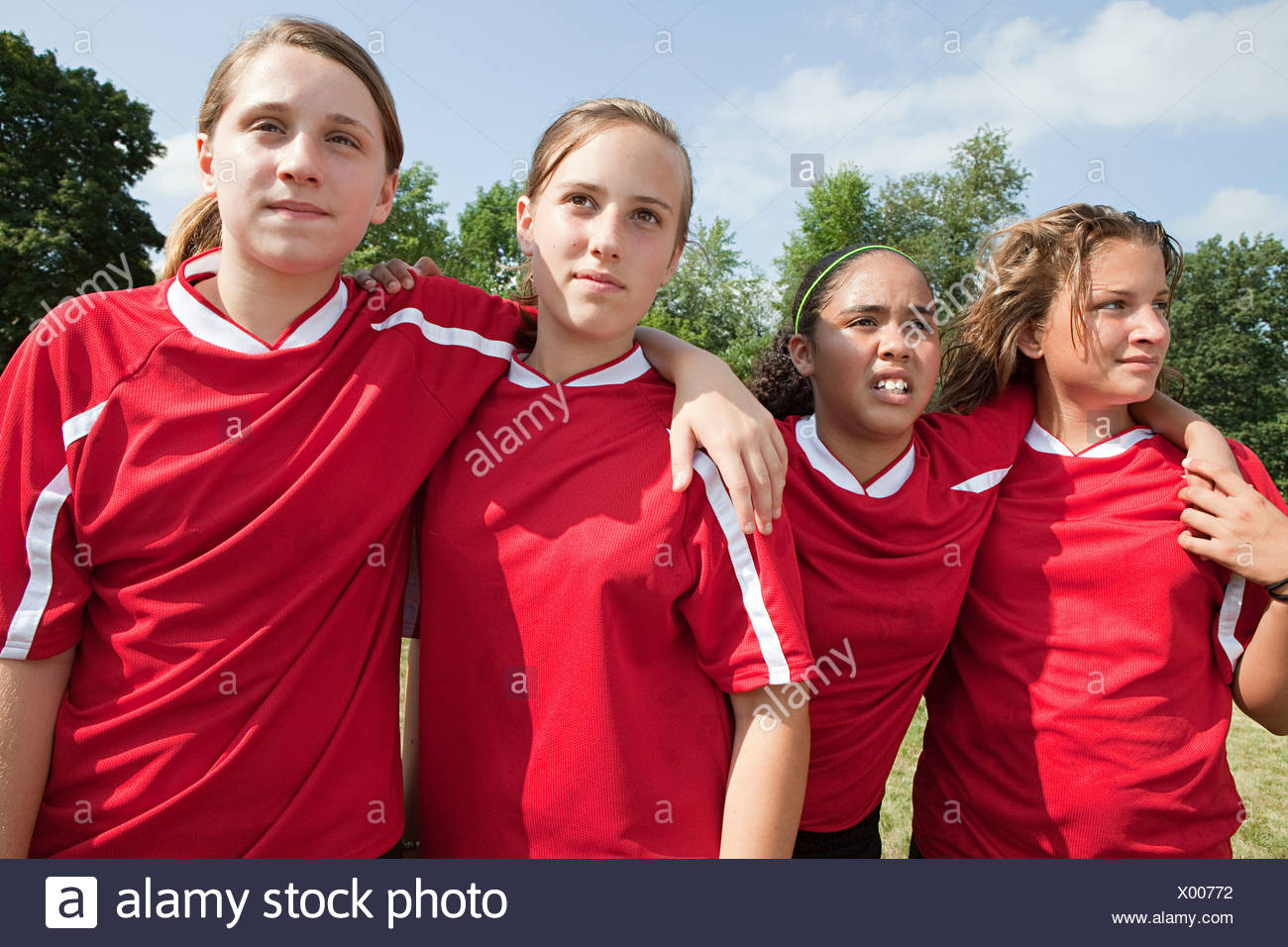 Girl soccer players - Stock Image
