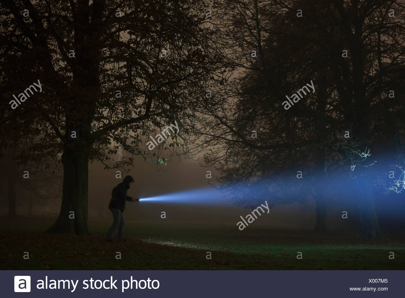 Germany, Munich, Young man with torch in foggy night - Stock Image