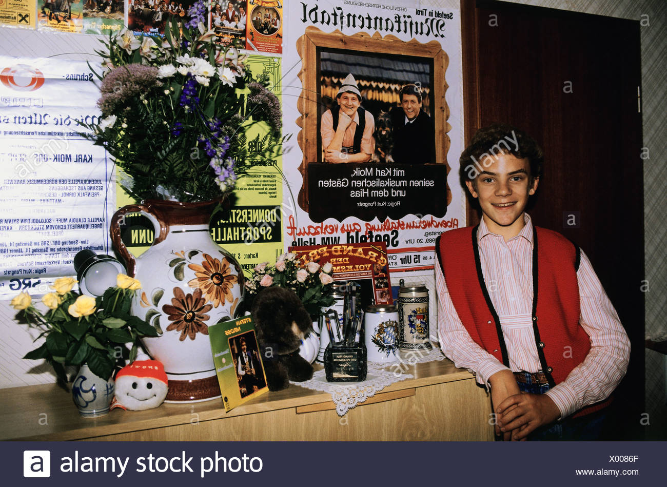 Mross Stefan, * 26.11.1975, German musician (rumpeter), winner of the Folk Music Grand Prix, 1989, in his home in Traunstein, , Additional-Rights-Clearances-NA - Stock Image