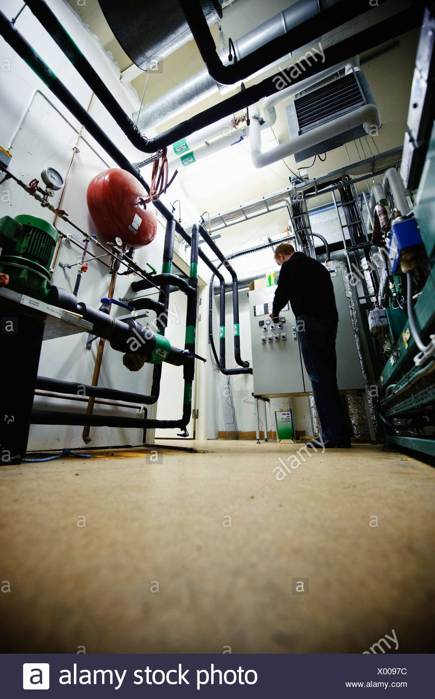 Electrical Panel Stock Photos Images Alamy Residential Wiring Trainer Man Checking Industry Cabinet Image