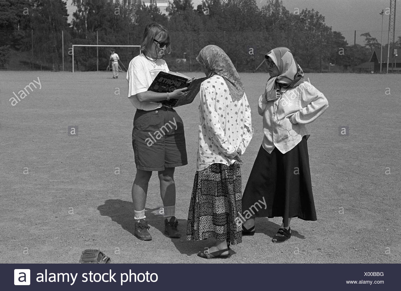 Turkish girls at gym lesson in Rinkeby 1995 - Stock Image