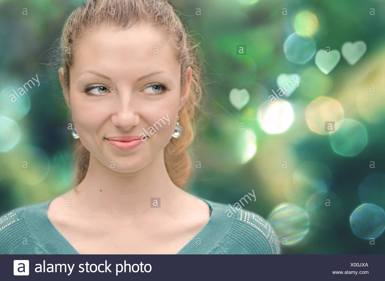 Portrait of a smiling woman - Stock Image