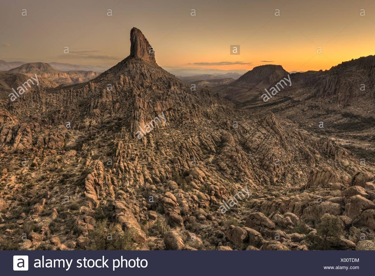 USA, Arizona, Tonto National Forest, Weavers Needle After Sunset - Stock Image