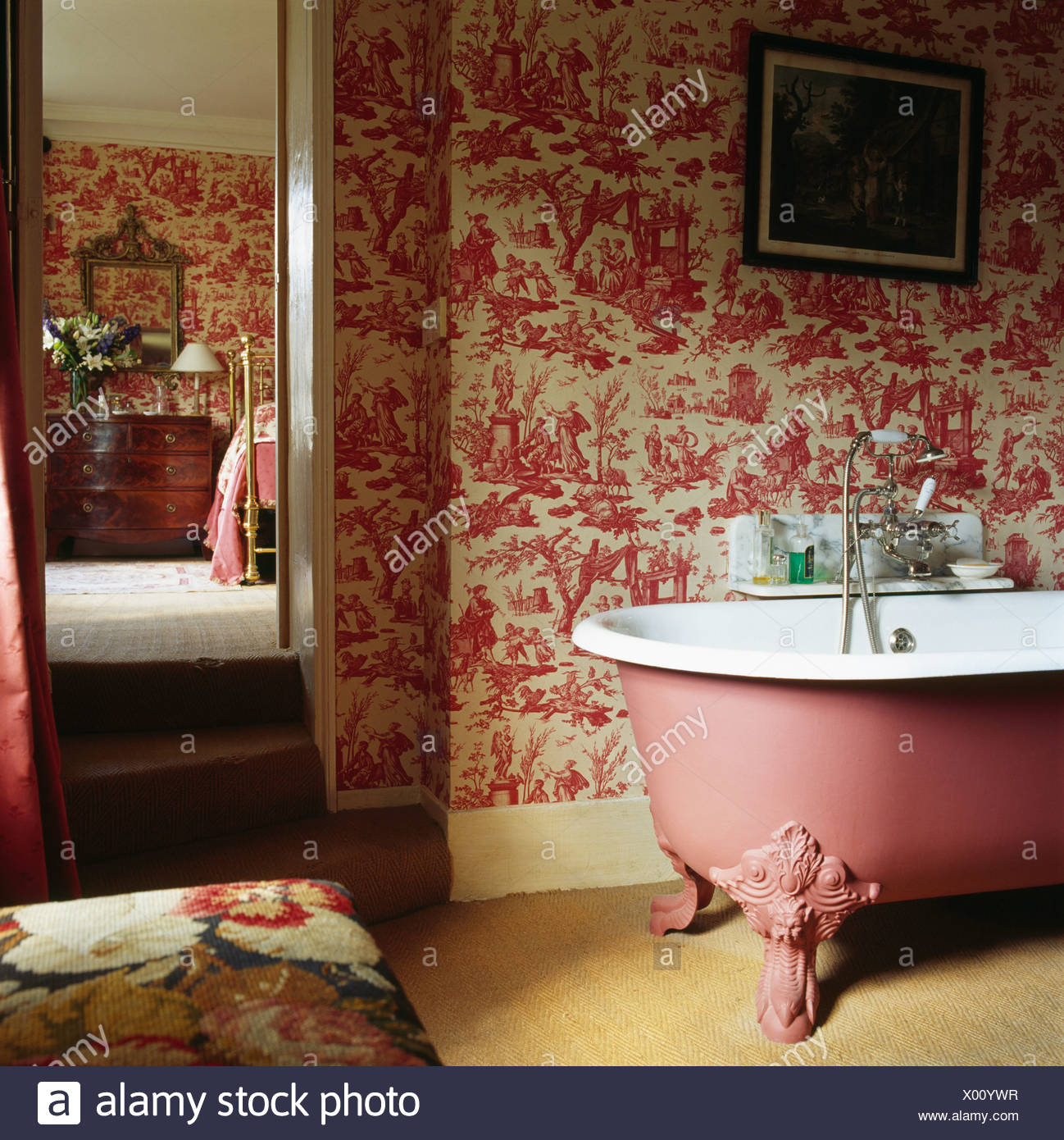 Pink Toile De Jouy Wallpaper And Pink Roll Top Bath In Traditional