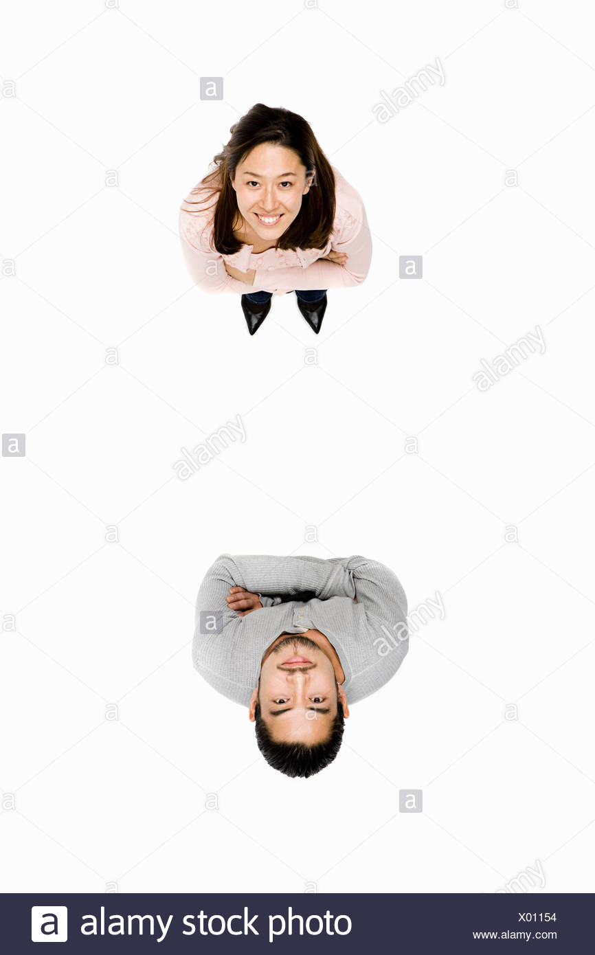 Elevated view of man an woman - Stock Image