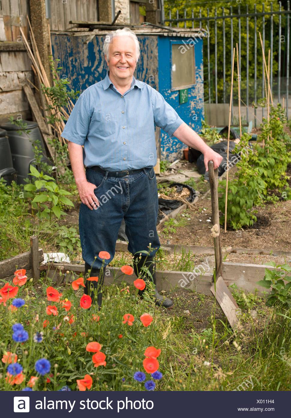 Portrait of a gardener - Stock Image