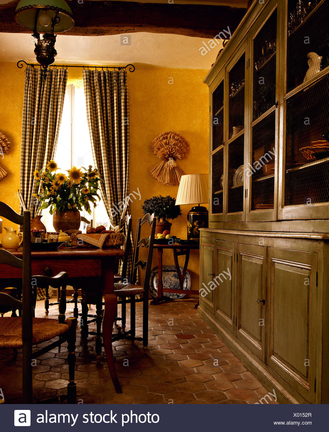 Large Painted Gray Green Dresser In Yellow French Country Dining
