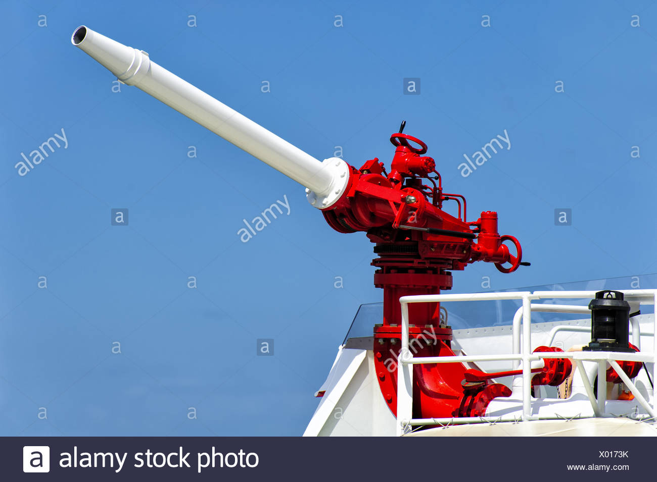 Water cannon a rescue cruiser - Stock Image