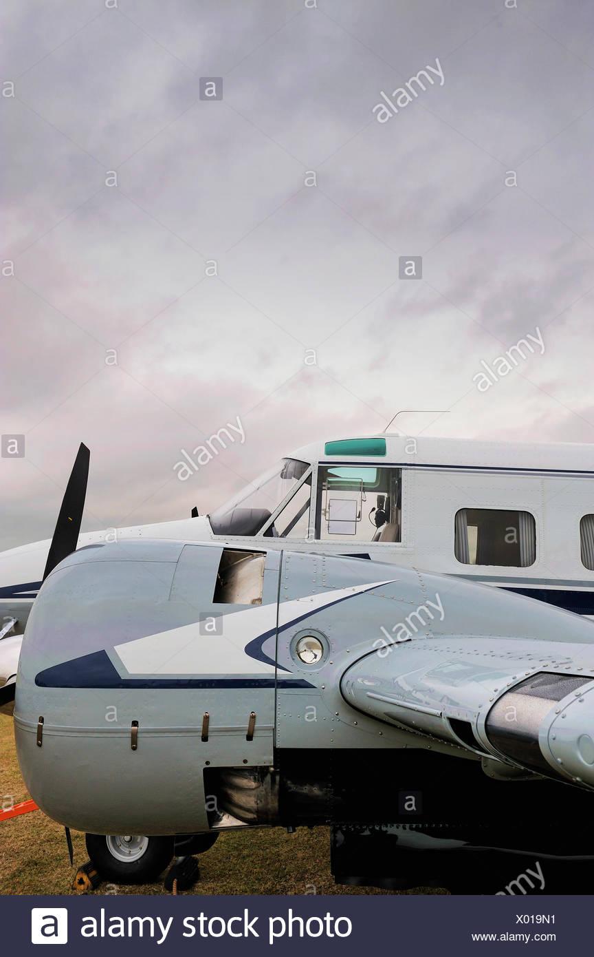 A Beechcraft Super 18 at North Weald Airfield, Essex, England, United Kingdom, Europe - Stock Image