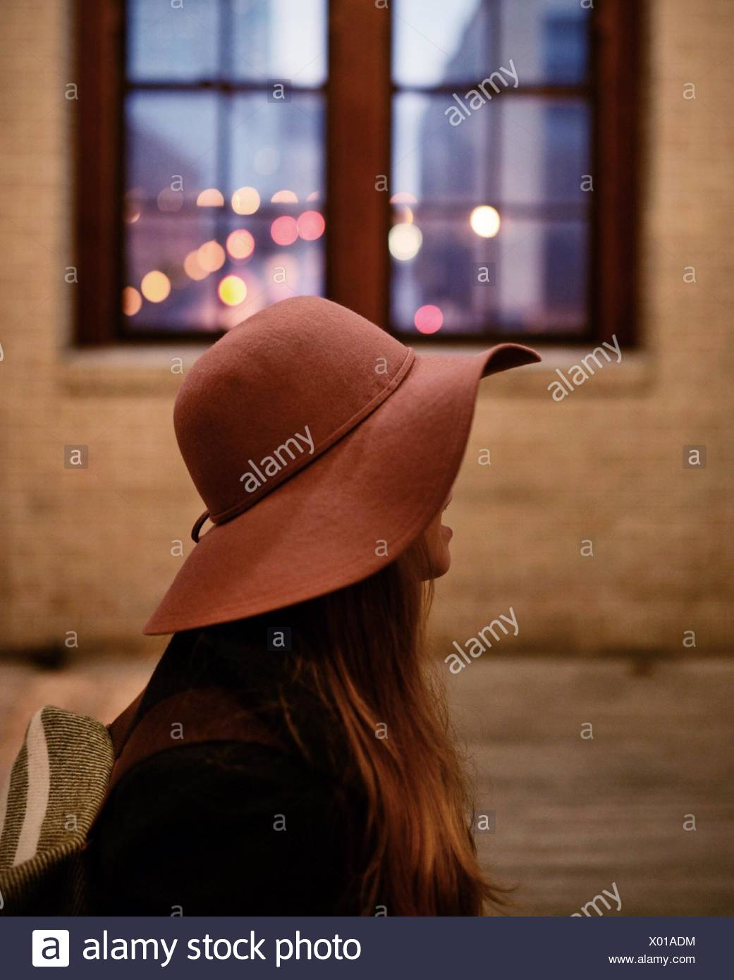 Close-Up Of A Woman Wearing Hat - Stock Image