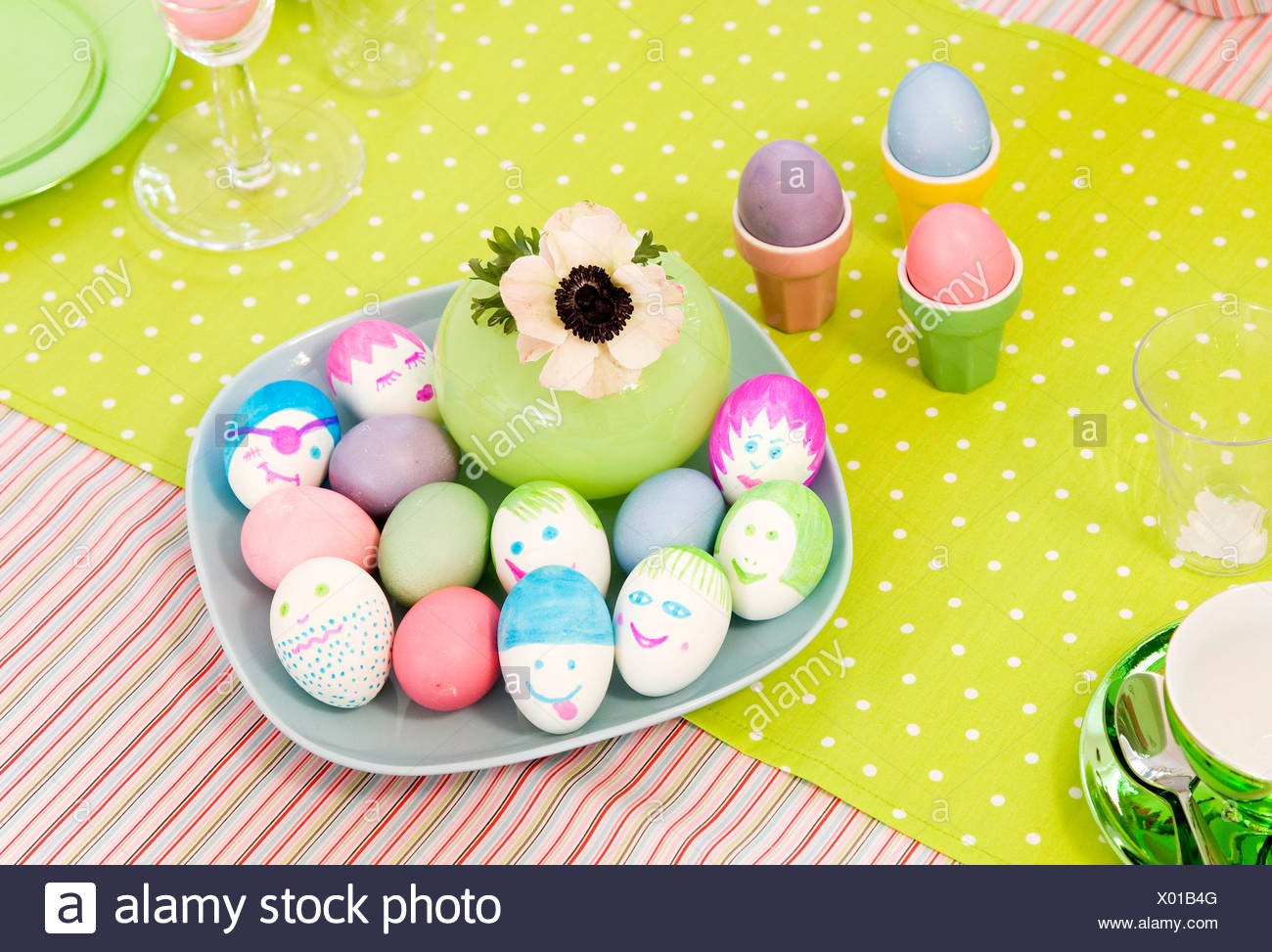 easter eggs with amusing decoration - Stock Image
