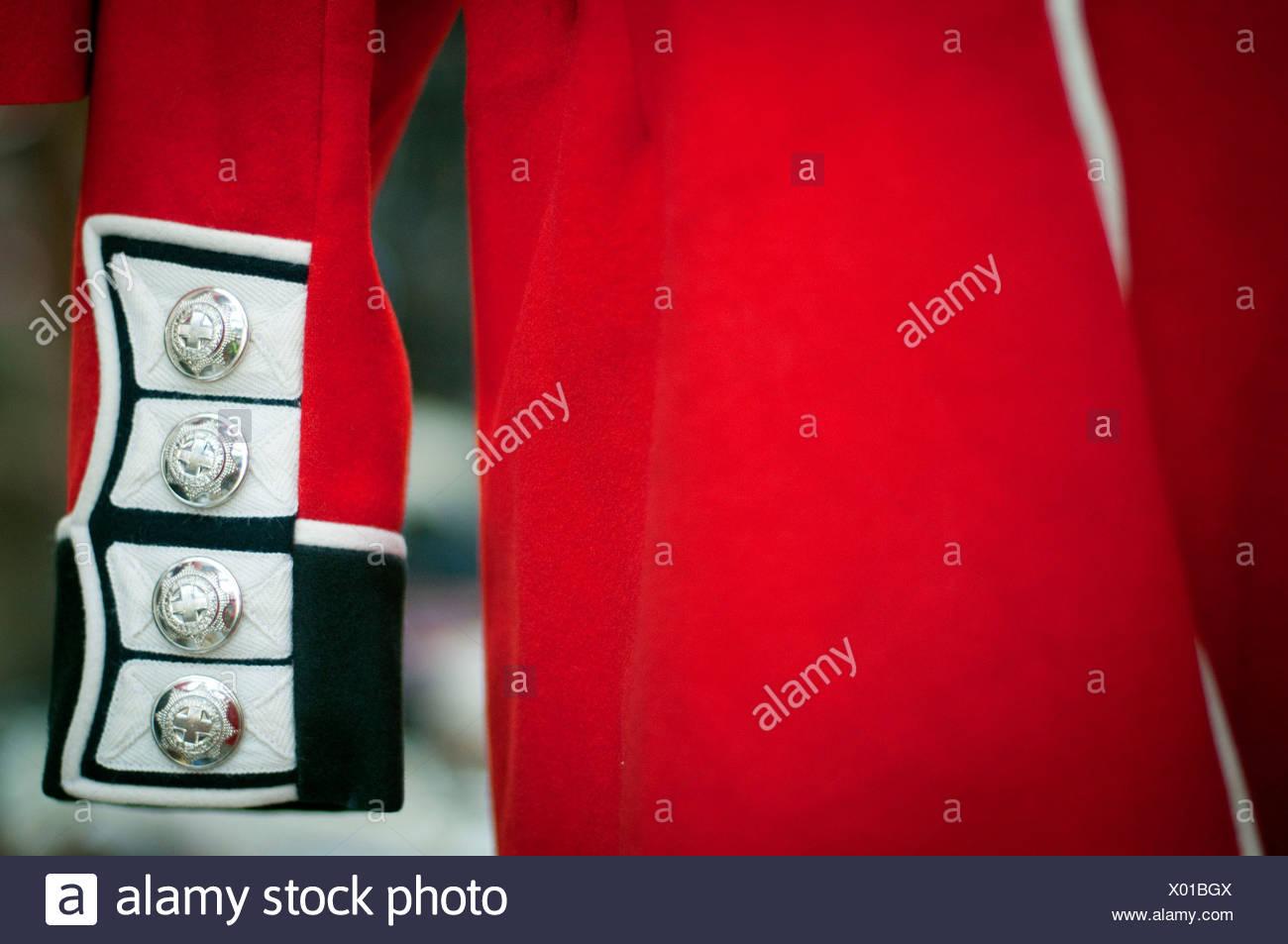 Detail of a guardsman costume, British Army, London, England, UK - Stock Image