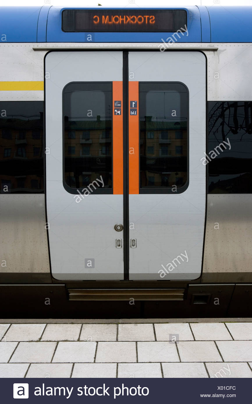 Close-up of closed train doors at the Stockholm railway station platform Stock Photo