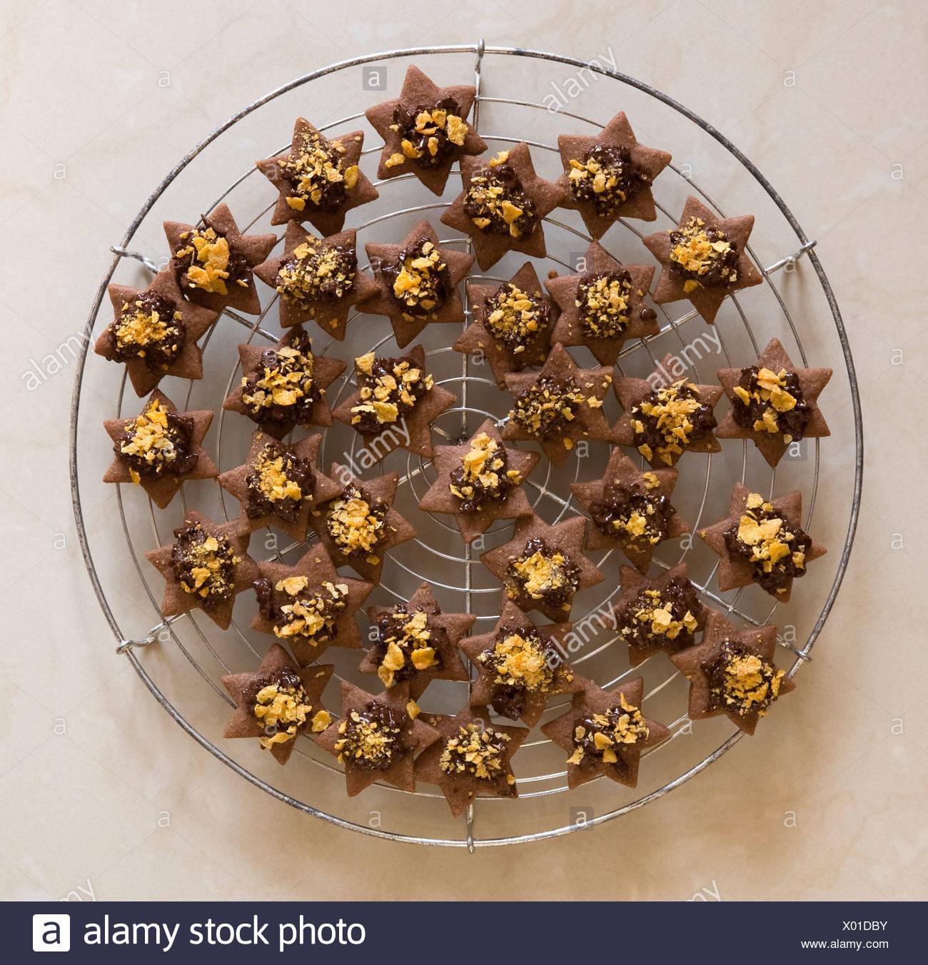 star shaped, brown christmas cookies - Stock Image