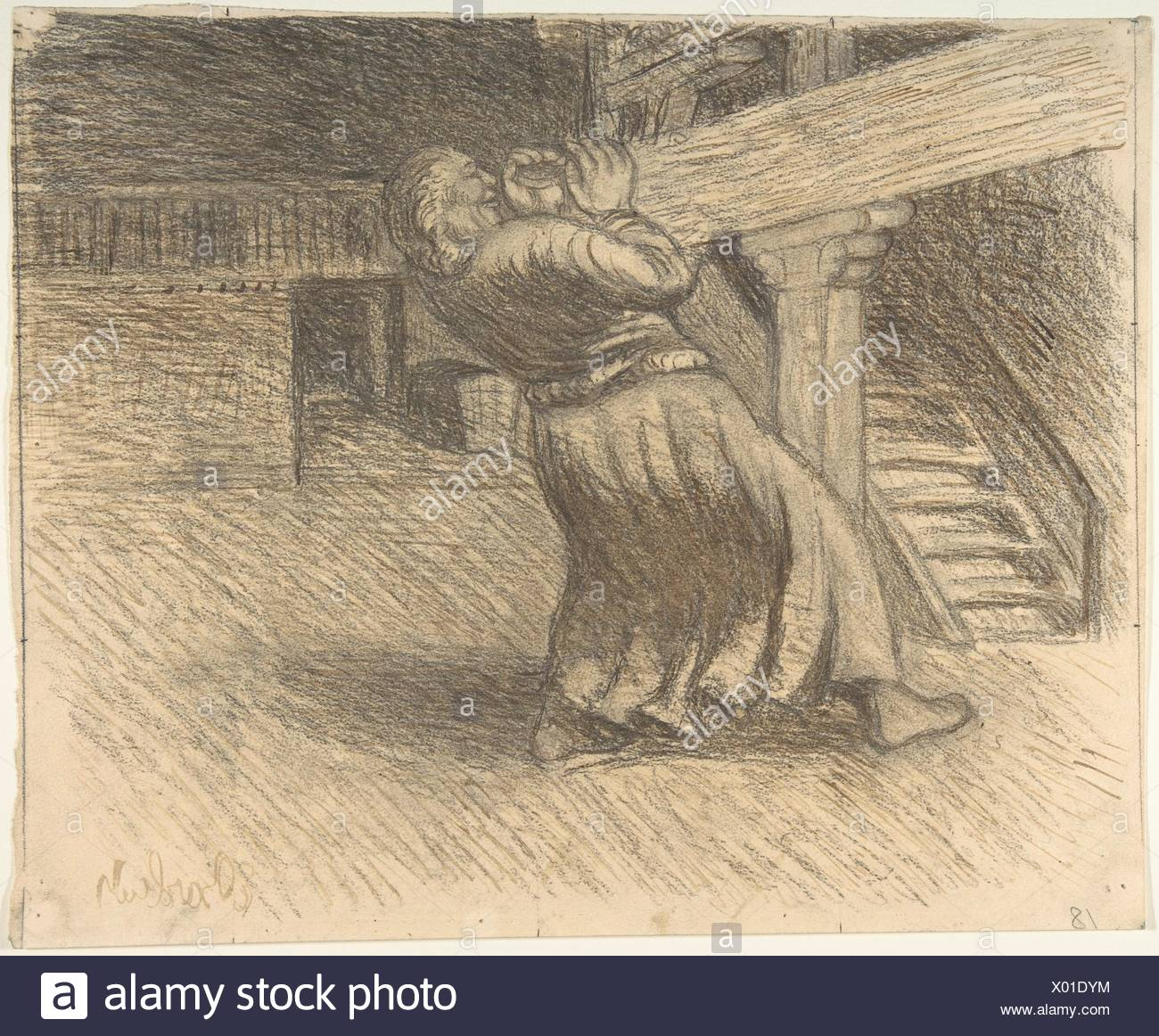 The Invisible. Artist: Ernst Barlach (German, Wedel 1870-1938 Rostock); Date: late 19th-mid-20th century; Medium: Pen and ink, pencil and charcoal on - Stock Image