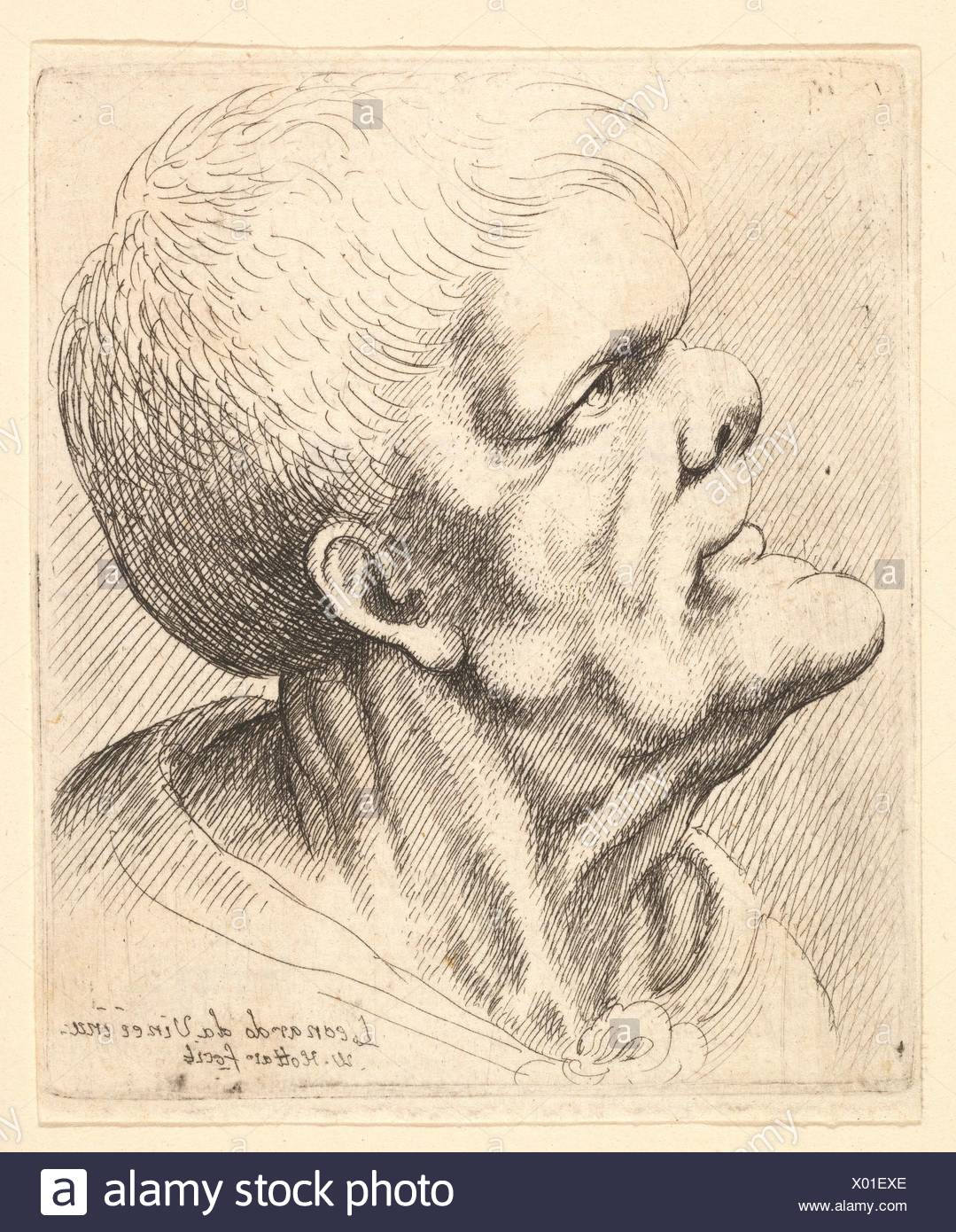 Head of a man with protruding chin and snub nose looking upwards in profile to left. Etcher: Wenceslaus Hollar (Bohemian, Prague 1607-1677 London); - Stock Image