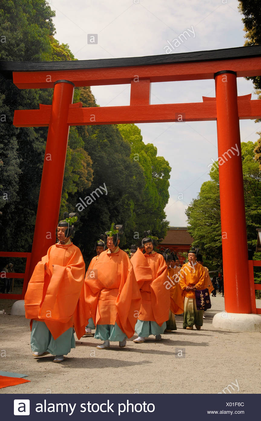 Beginning of the procession from the Shimogamo to the Mikage shrine at Mt. Mikage, west of the Hie Mountain, Kyoto, Japan, Asia Stock Photo