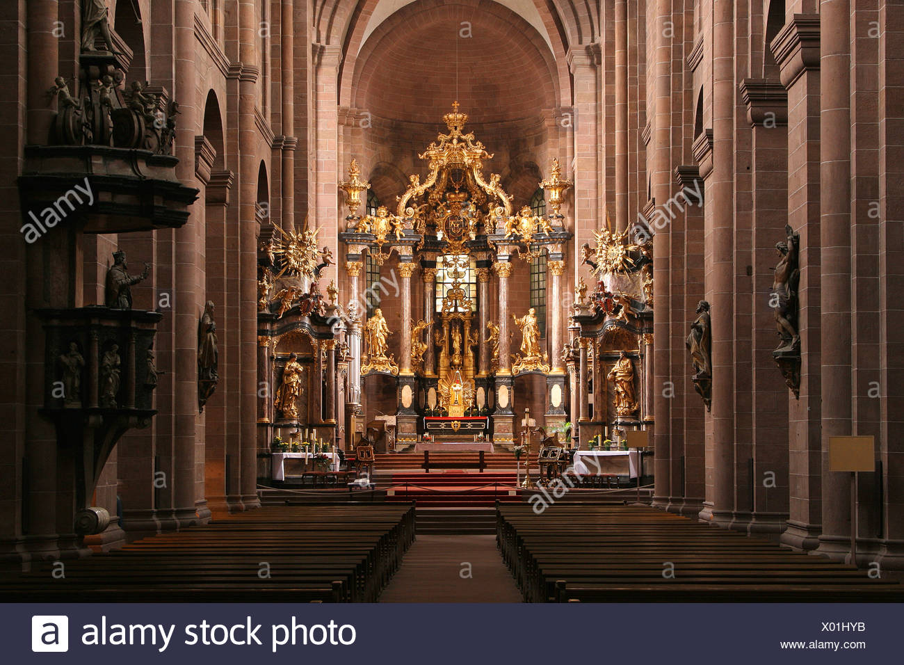 Interiors of cathedral, Worms Cathedral, Worms, Rhineland-Palatinate, Germany - Stock Image