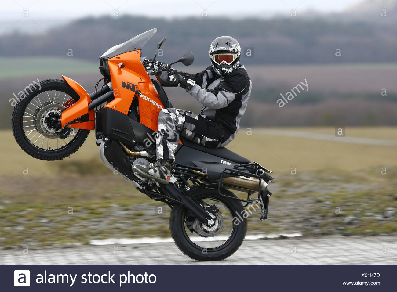 Motorcyclist, KTM Adventure, Wheelie, - Stock Image