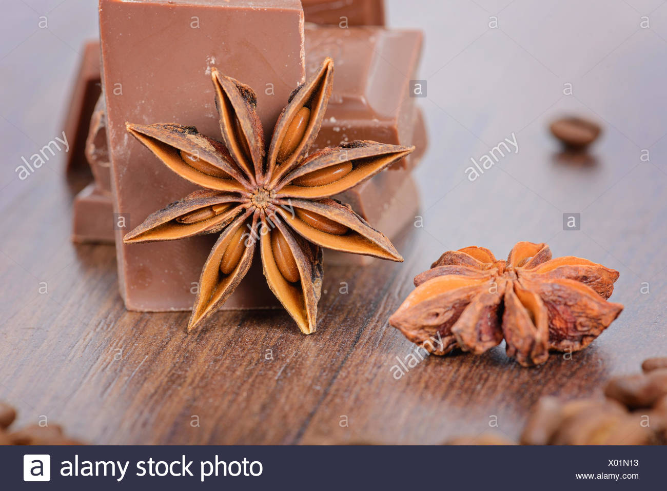Milk chocolate, coffee beans and anise - Stock Image