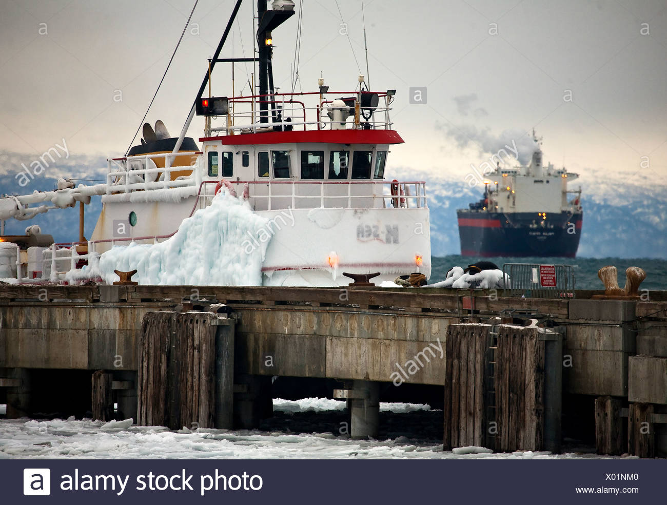Alaska. Tugs and ships deal with winter ice coming into Homer. - Stock Image