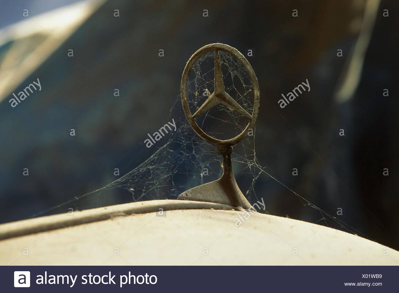 Mercedes, detail, Mercedes Stern, to webs, scrap yard, scrap, vehicle disposal, - Stock Image