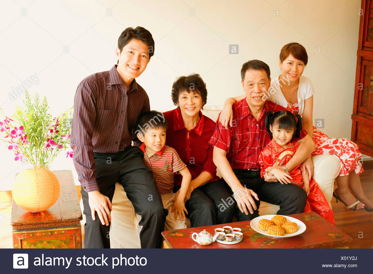Portrait of a family smiling Stock Photo