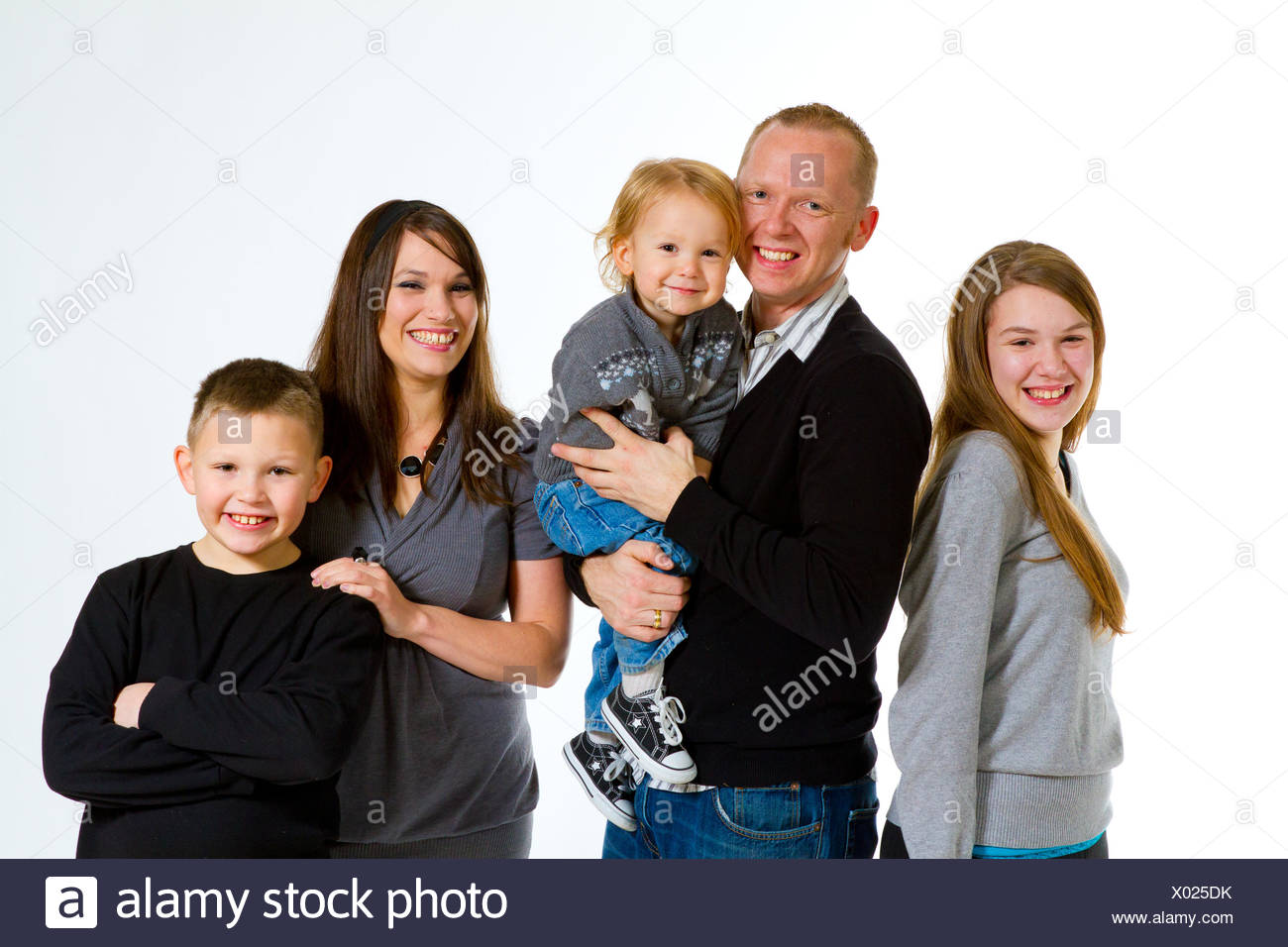 Family of Five Isolated - Stock Image