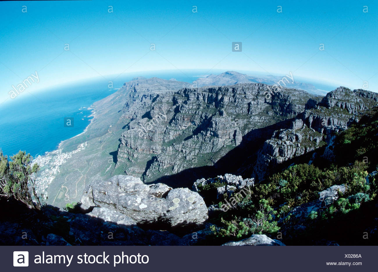 View from the Table Mountain / Blick vom Tafelberg - Stock Image