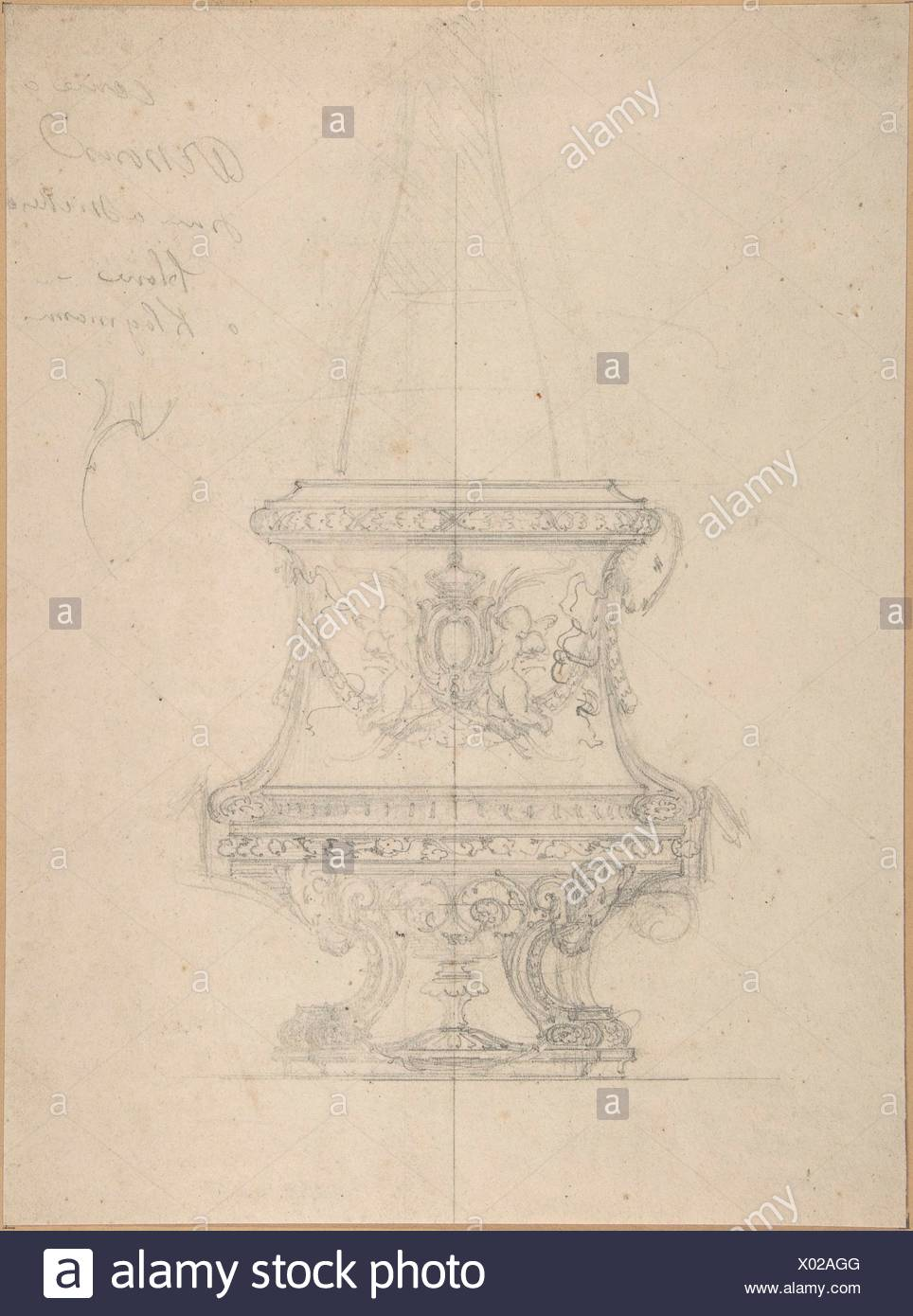 Design for a Vase with Rams' Heads in Renaissance Style. Artist: Anonymous, French, 19th century; Date: 19th century; Medium: Graphite. Framing lines - Stock Image
