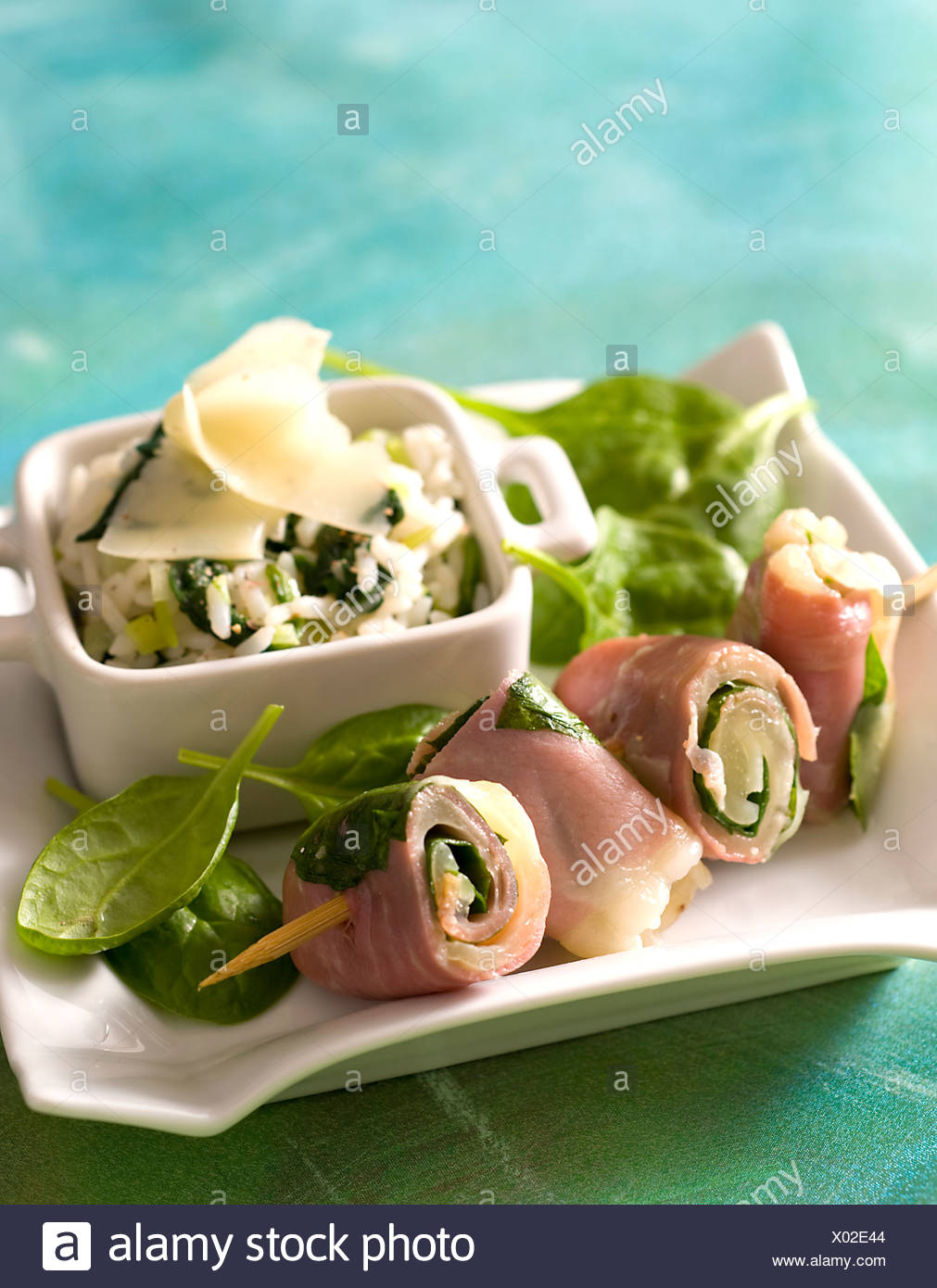 Cheese and Spinach Rolls - Stock Image
