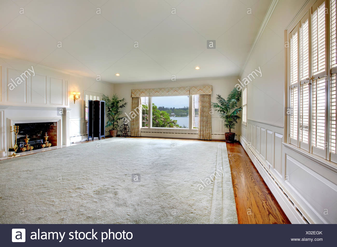 Empty Living Room With Fireplace Homedecorations