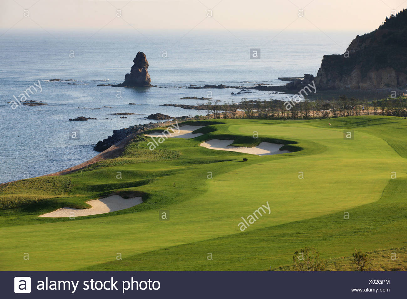 Golf course by sea - Stock Image