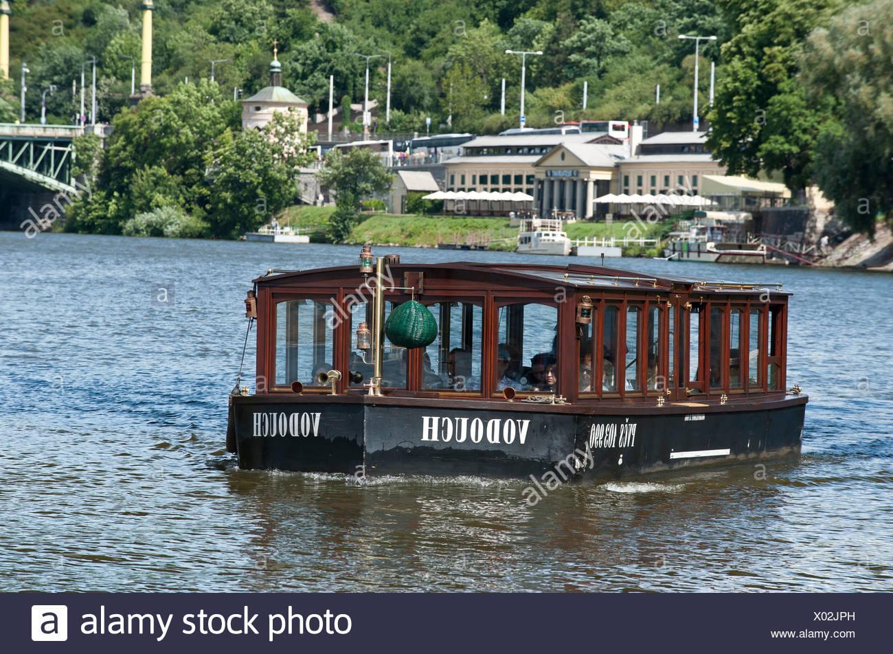Excursion boat on the Moldau River, Prague, Bohemia, Czech Republic, Europe - Stock Image