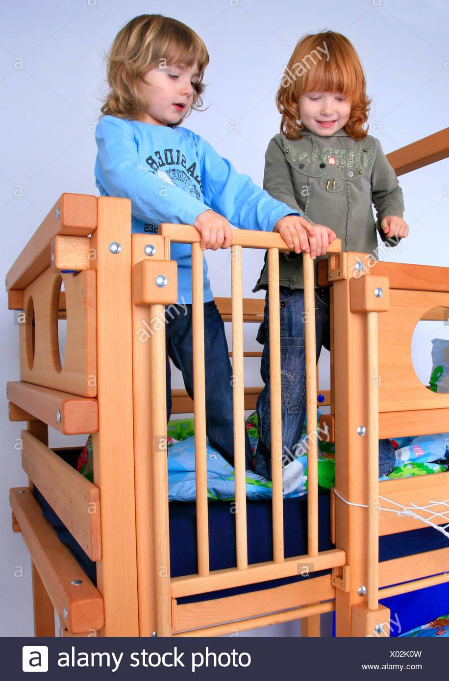 Billi Bolli children in a billi bolli loft bed closing the entry stock
