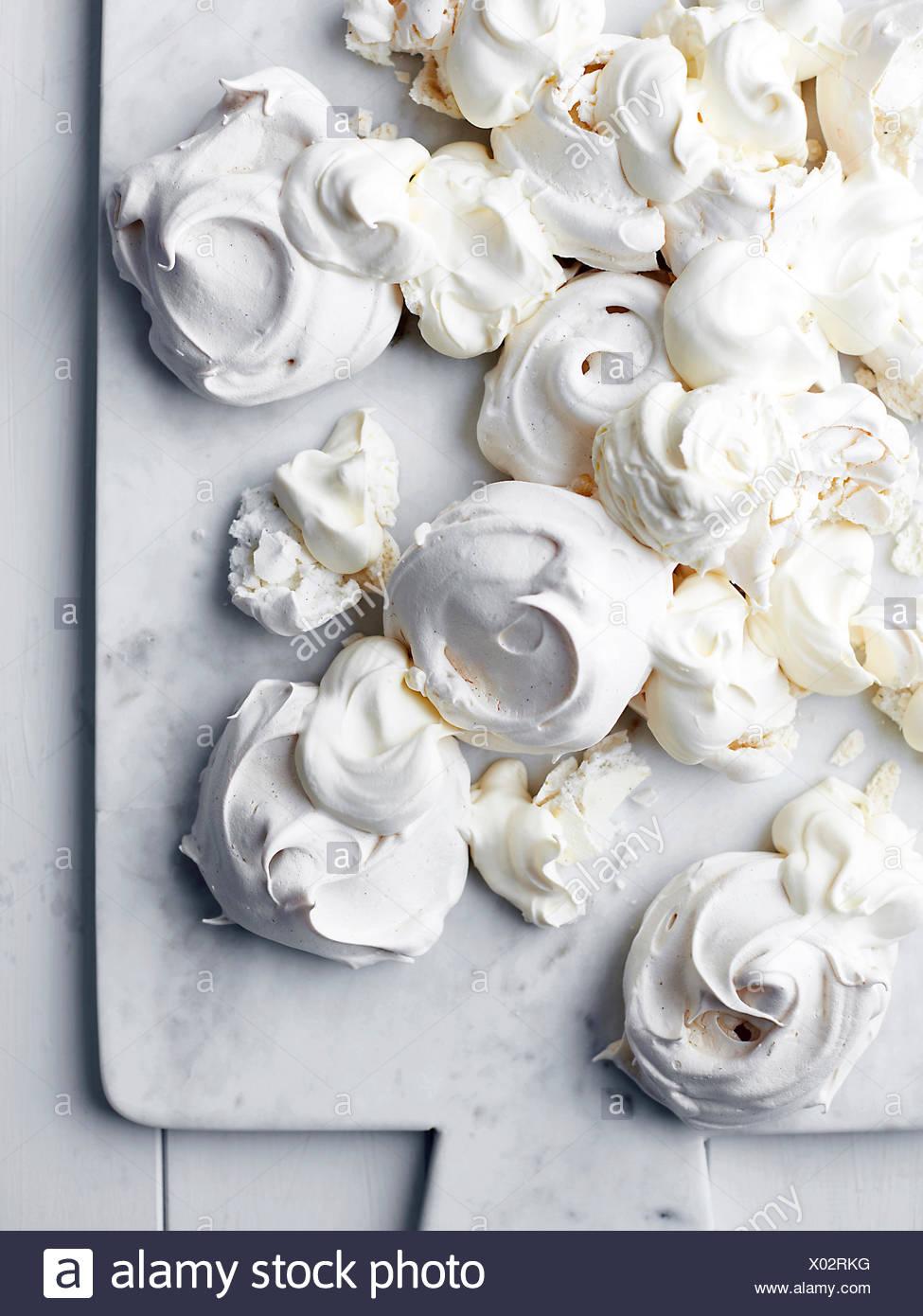 Freshly baked meringues,overhead view - Stock Image