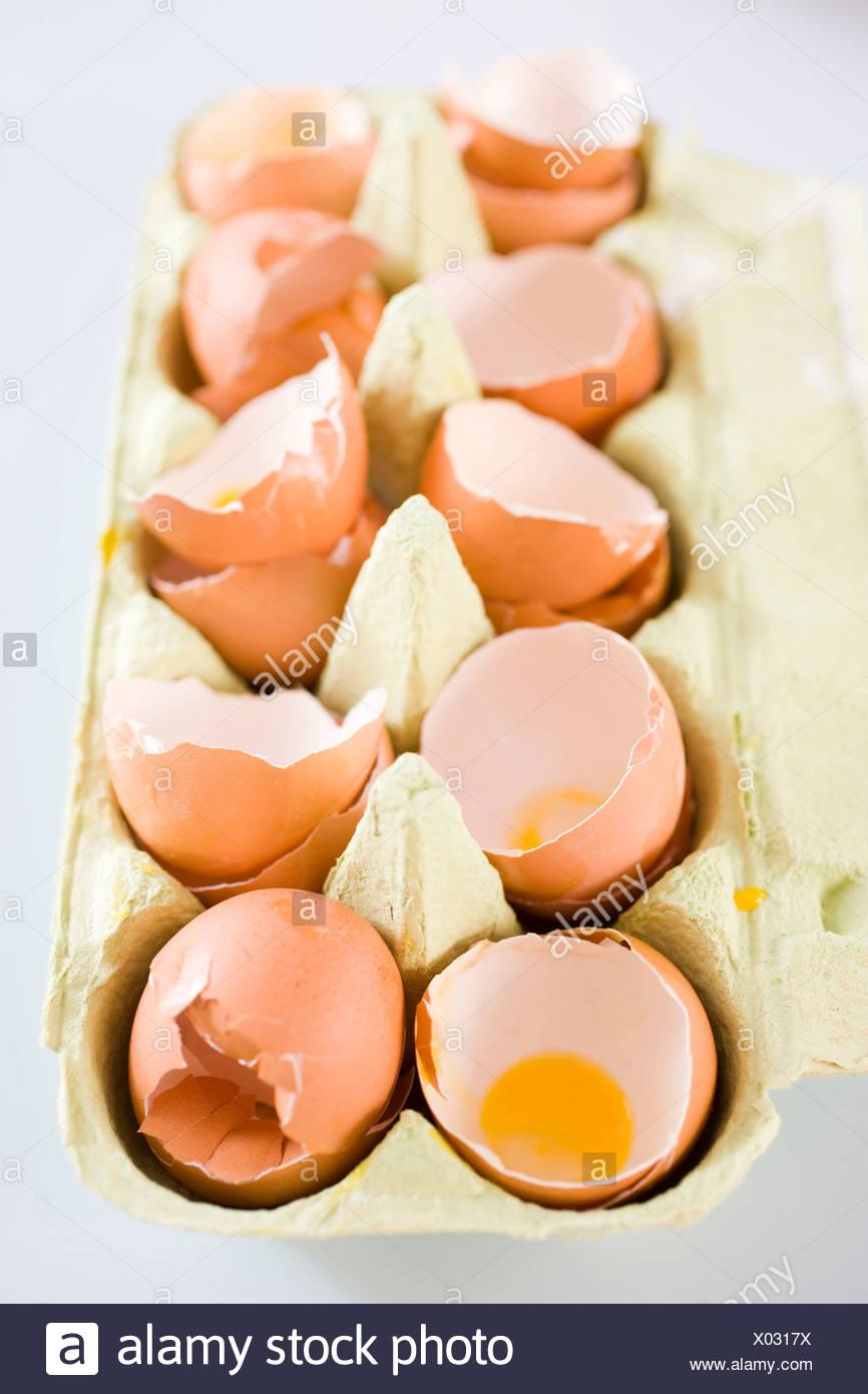 Still-life eggshells in a box - Stock Image