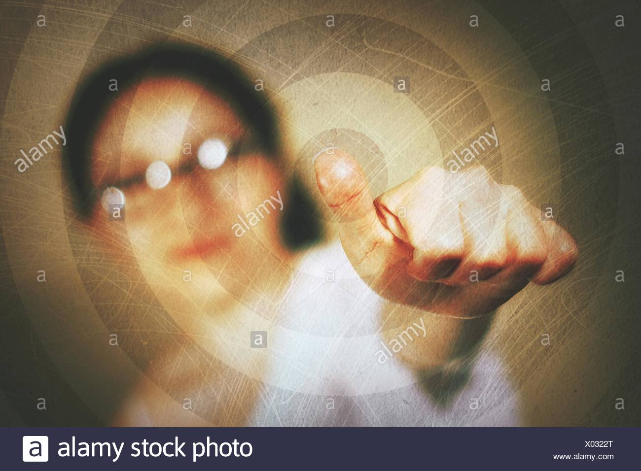 Digital Composite Image Of Woman Gesturing Thumbs Up - Stock Image